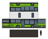 O modelo de papel de um ônibus verde ilustração do vetor