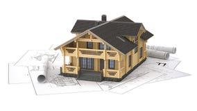 O modelo de uma casa de log nos desenhos do fundo ilustração stock