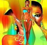 O modelo do biquini com casca para trás efetua, arte colorida de Digitas Fotografia de Stock Royalty Free