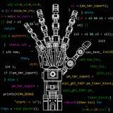O modelo do desenho do braço do robô Esta ilustração do vetor seja usada como uma ilustração de ideias da robótica, artificial Imagem de Stock Royalty Free