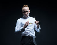 O modelo do homem da forma olha como o lerdo ou o moderno do horror Imagem de Stock Royalty Free