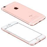 O modelo do iPhone 6s de Rose Gold Apple encontra-se na superfície Imagem de Stock Royalty Free