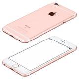O modelo do iPhone 6s de Rose Gold Apple encontra-se na superfície no sentido horário Imagens de Stock Royalty Free
