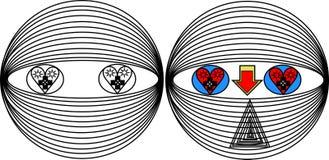 O modelo do robô com sentimentos do amor projeta os olhos e o nariz ilustração stock