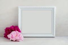 O modelo floral denominou a fotografia conservada em estoque com quadro branco Fotos de Stock Royalty Free