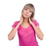 O modelo lindo no vestido cor-de-rosa está estando Imagem de Stock