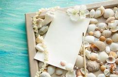 O modelo no fundo do mar descasca o tema, feriado, letra, cartão Imagens de Stock Royalty Free