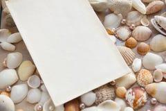 O modelo no fundo do mar descasca o tema, feriado, letra, cartão Foto de Stock Royalty Free
