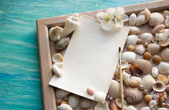 O modelo no fundo do mar descasca o tema, feriado, letra, cartão Fotografia de Stock