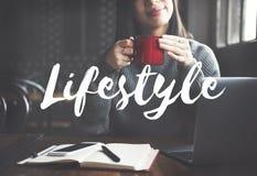 O modo de vida da cultura do estilo de vida interessa o conceito dos hábitos da paixão foto de stock