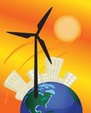 O moinho de vento pôr a cidade e a terra ilustração stock