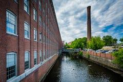 O moinho histórico de Cocheco, em Dôvar, New Hampshire fotos de stock