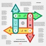 O molde com 4 opções multi-coloriu setas para infographic Fotos de Stock Royalty Free
