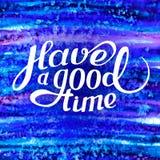 O molde com uma frase tem uma boa estadia lettering Luz do vetor art Imagem de Stock Royalty Free