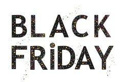 O molde da bandeira de Black Friday com balão preto e polvilha o fundo Imagens de Stock Royalty Free