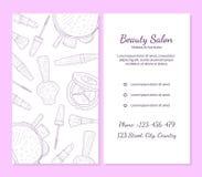 O molde da bandeira do salão de beleza com lugar para seu texto, os cosméticos e o fundo da beleza com compõem o artista Objects ilustração do vetor