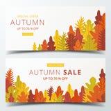 O molde da disposição da bandeira da venda do outono decora com a floresta em morno ilustração stock