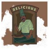 O molde da ilustração do vintage do vetor de um cozinheiro chefe serve ilustração royalty free