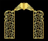 o molde da porta do arco do casamento para cortar do vinil a decoração é um teste padrão a céu aberto estilizado de ilustração royalty free