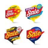 O molde das bandeiras da venda, quente, fogo, relâmpago borbulha Foto de Stock