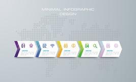 O molde de Infographic com projeto de 4 opções, trabalhos, cartas de processo, infographics do espaço temporal e ícones do mercad ilustração royalty free