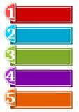 O molde de Infographic para uma apresentação de cinco opções ou as etapas com quadros vazios para própria mensagem na tira de pap Fotografia de Stock Royalty Free