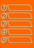 O molde de Infographic para uma apresentação de cinco opções ou as etapas com quadros vazios para própria mensagem no monoline pr Imagem de Stock