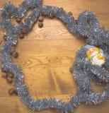 O molde do assunto do Natal para o texto dentro de uma decoração Fotos de Stock Royalty Free