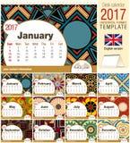 O molde 2017 do calendário do triângulo da mesa com rosetas nativas projeta Tamanho: 210mm x 150mm ilustração do vetor