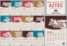 O molde 2017 do calendário do triângulo da mesa com símbolos astecas projeta Tamanho: 150mm x 210mm Vertical do formato A5 Imagem ilustração do vetor