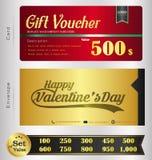 O molde do comprovante de Valentine Day Gift com teste padrão superior e o envelope projetam Imagem de Stock Royalty Free