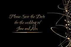 O molde do convite do vetor com a mão dourada escrita a rotulação salvar por favor a data e as gotas de brilho do ouro Fotografia de Stock Royalty Free
