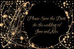 O molde do convite do vetor com a mão dourada escrita a rotulação salvar por favor a data e as gotas de brilho do ouro Foto de Stock Royalty Free