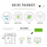 O molde do design web da farmácia e os químicos em linha compram Fotografia de Stock