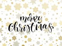 O molde do fundo do teste padrão do floco de neve do feriado do Feliz Natal e a caligrafia tirada mão citam o texto para o cartão ilustração royalty free