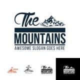 O molde do logotipo do olhar do vintage da montanha Fotos de Stock