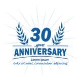 30o molde do projeto do aniversário 30os vetor e ilustração dos anos ilustração royalty free