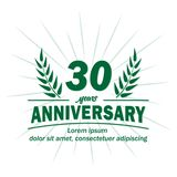 30o molde do projeto do aniversário 30os vetor e ilustração dos anos ilustração do vetor