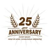 25o molde do projeto do aniversário 25os vetor e ilustração dos anos ilustração do vetor