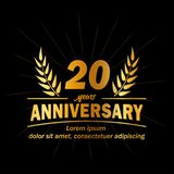 20o molde do projeto do aniversário 20os vetor e ilustração dos anos ilustração royalty free