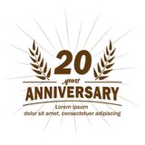 20o molde do projeto do aniversário 20os vetor e ilustração dos anos ilustração stock