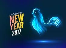 O molde do projeto de cartão do ano novo do galo galo do símbolo do calendário do ano 2017 novo ou galo, luz de néon de incandesc ilustração do vetor