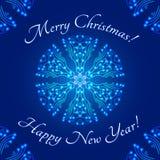 O molde do projeto de cartão do Natal, floco de neve de incandescência estilizou em volta do ornamento e do texto Fotos de Stock Royalty Free