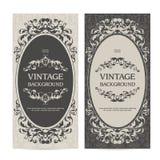 O molde do vintage ajustou bandeiras verticais com beiras decorativas e fundo modelado Convite do casamento, cartão ilustração stock
