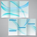 O molde dobrável em três partes do folheto do negócio, vector d azul Fotos de Stock Royalty Free