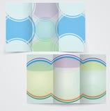 O molde dobrável em três partes do folheto do negócio, vector f azul Imagens de Stock Royalty Free