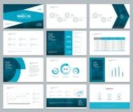 O molde e a disposição de página do projeto da apresentação do negócio com tampa projetam Fotos de Stock Royalty Free