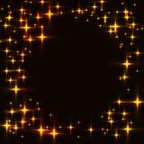 O molde escuro com a beira feita de shinning dourado stars ilustração do vetor