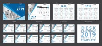 O molde 2019, grupo do calendário de mesa de 12 meses, Calendar 2020-2021 a arte finala, planejador, começos da semana em domingo ilustração stock