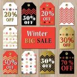 O molde imprimível do cartão da venda grande com os flocos de neve vermelhos dourados projeta Imagens de Stock Royalty Free